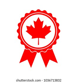 Icon maple leaf medal. Maple leaf vector illustration. Canada symbol red maple leaf.