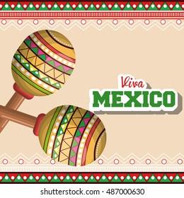 icon maracas mexican music graphic