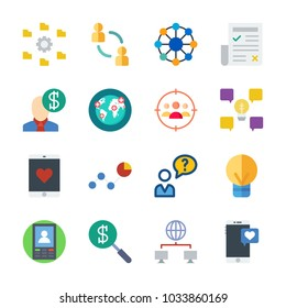 icon Marketing with salesman, search, user, idea and newspaper