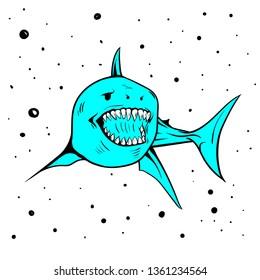 icon mascot of shark handdraw vector image
