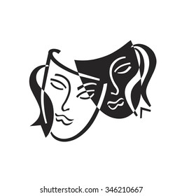 icon mask vector black and white theater comedy and tragedy