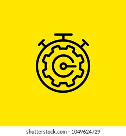 Icon of mechanism of alarm clock. Stopwatch, modern design, cogwheel. Time management concept. Can be used for topics like urgency, efficiency, optimization, schedule