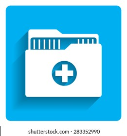 Icon of medical history folder on bright blue background