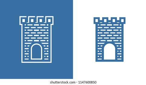 Icon of Medieval Scotland Castle. European Historic Building Fortless of United Kingdom in black and white color. Vector set of illustrations in EPS 10.