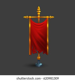 Icon of medieval vertical red flag with flagpole for game. Vector illustration.