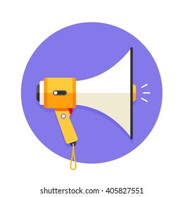 Icon of megaphone or mouthpiece. Icon of white and orange megaphone in a violet background. Isolated icon of megaphone in circle. Vector illustration