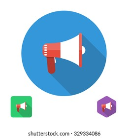 icon megaphone. vector illustration in the flat style design element for web and mobile applications