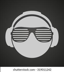 icon men dj in headphone and shutter shades sunglasses. vector print illustration