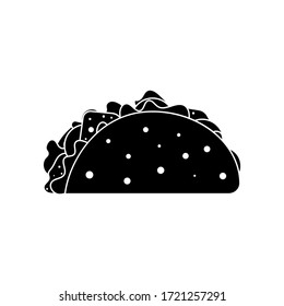 Icon mexican taco in tortilla. Vector transparent illustration on white background
