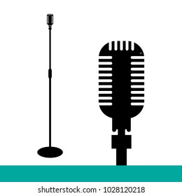 Icon microphone, illustration microphone, mic. Flat design, vector.
