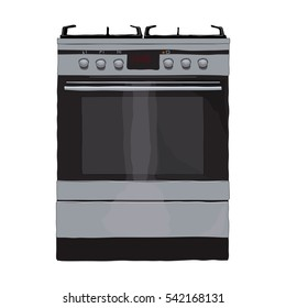 Icon of modern metal gas stove or oven.