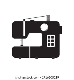 Icon of a modern sewing machine. Solid sewing image.