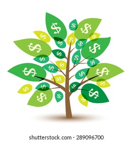Icon money tree with leaves in dollars. Vector Illustration.