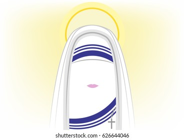 icon Mother Teresa of Calcutta, the Missionaries of Charity, Nobel Peace Prize, vector isolated