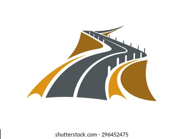 Icon of mountain road over a precipice with steep rocky slopes on both sides and concrete safety bollards receding into distance, suitable for transportation or travel design