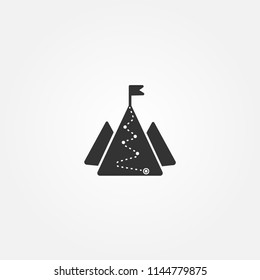 Icon with mountains and hiking footpath, flag on top.