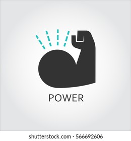 Icon of muscle hand. Willpower, business, healthy lifestyle concept. Vector graphics in flat style. Shape pictograph for websites, mobile apps and other design needs