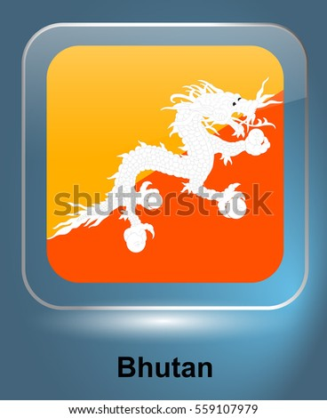 20d74a4129c9 Icon of the national flag of the Bhutan. The glass effect with a shadow and