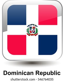 Icon of the national flag of the Dominican Republic. The glass effect with a shadow and a name. Vector illustration in EPS10 format.