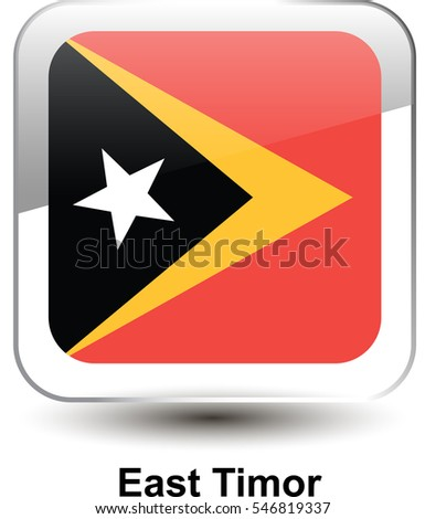 e31851b06c02 Icon of the national flag of the East Timor. The glass effect with a shadow  and a name. Vector illustration in EPS10 format. - Vector
