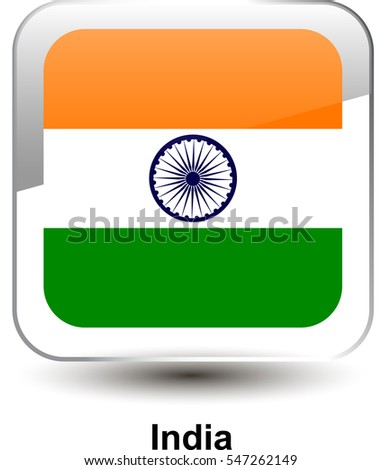 7c86964f4908 Icon of the national flag of the India. The glass effect with a shadow and