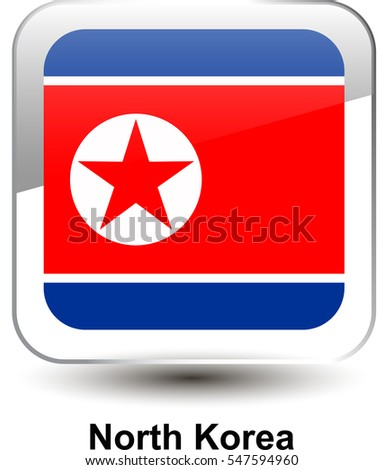 9bc30a2c6bac Icon of the national flag of the North Korea. The glass effect with a shadow  and a name. Vector illustration in EPS10 format. - Vector
