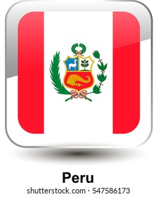 Icon of the national flag of the Peru. The glass effect with a shadow and a name. Vector illustration in EPS10 format.
