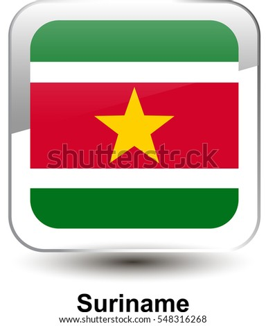 6a5f4bb0d515 Icon of the national flag of the Suriname. The glass effect with a shadow  and