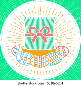 icon - navruz, easter, as a sprout of wheat and colored eggs. Icon in the linear style