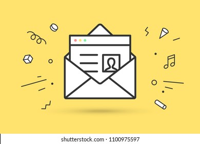 Icon of new open mail envelope. White mail envelope and letter or icon file. Email icon or message. Icon of open mail envelope with explosive memphis graphic element. Vector Illustration