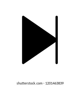 The icon of next track button symbol sign. Simple glyph icon illustration of next track button symbol sign for a website or mobile application on white background