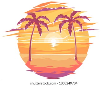 Icon night on the beach with palm trees. Evening sunset on the resort beach. Morning sunrise under palm trees. Yellow sunset on the beach. Waves, sky and yellow sun. Vector illustration, EPS 10