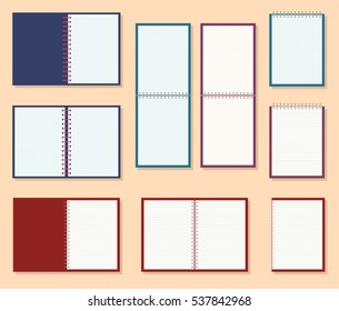 Icon of a Notebook with spring, vector illustration. Set in flat style.