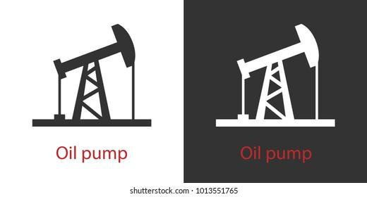 Icon oil pump in black white. Vector set. Isolated. Monochrome