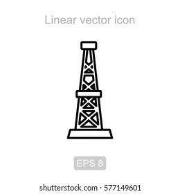 Icon of the oil rig in a linear style