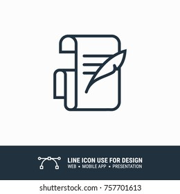 Icon Old paper sheet roll and ink feather quill pen graphic design single icon vector illustration