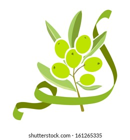 icon olive branch with ribbon. vector illustration