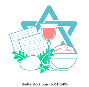 Icon  on the holiday - Pesach. Icon in the linear style