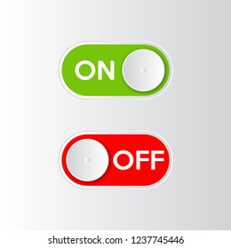 Icon On and Off toggle switch button. Vector illustration.