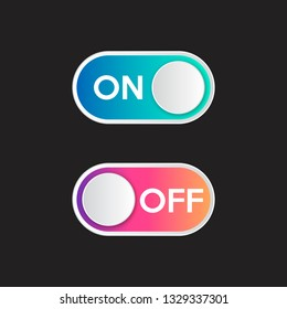 Icon On and Off toggle switch button with modern gradient. Vector illustration.