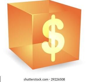 icon on translucent cube shape illustration