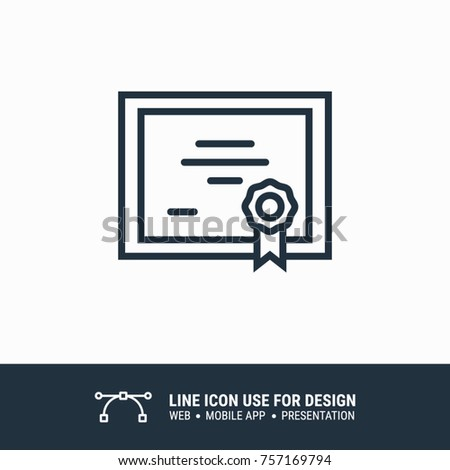 Icon Online Certificate Graphic Design Single Stock Vector (Royalty ...