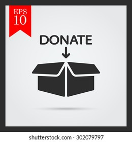 Icon of open donation box with downward arrow