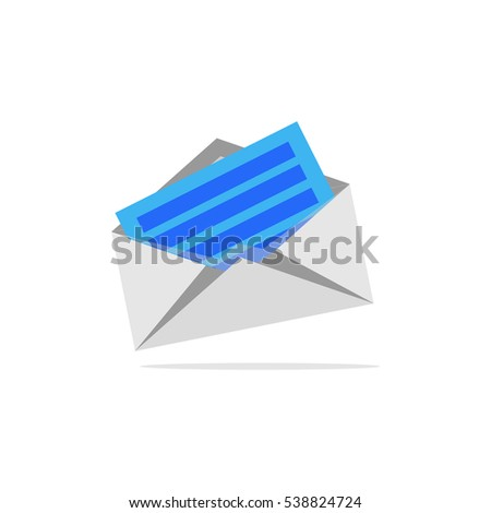 icon open envelope envelope with letter with shadow isolated on white background