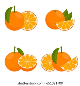 The Icon  Orange or Mandarin. Set with whole fruit and a half, with leaves and without. Vector illustration in a flat style.