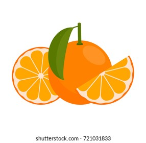 Icon  Orange or Mandarin.  whole fruit and a half. Vector illustration in a flat style.