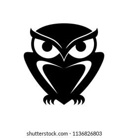 Icon owl. Flat sign owl. Isolated black logo owl on white background. Vector Illustration