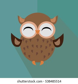 Icon owl is happy on green background