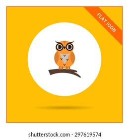 Icon of owl sitting on tree branch