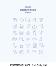 Icon pack of cinema and tv business